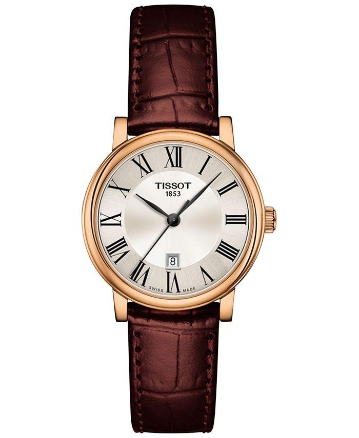 Tissot - Women's Swiss Carson Premium Brown Leather Strap Watch 30mm