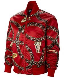 Women's Sportswear Printed Satin Bomber Jacket