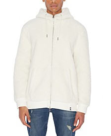Men's Fuzzy Faux Shearling Full-Zip Hoodie