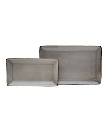 Reactive Glaze Grey Set of 2 Rectangular Trays