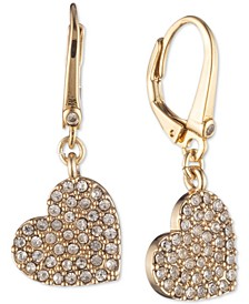 Crystal Heart Drop Lever Back Earrings, Created for Macy's