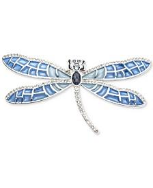 Silver-Tone Crystal Dragonfly Pin