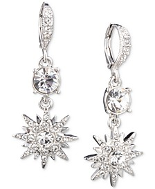 Silver-Tone Crystal Star Small Double Drop Earrings