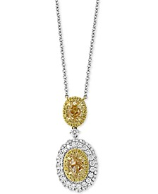 "EFFY® HEMATIAN Diamond Double Oval Halo 18"" Pendant Necklace (2-1/4 ct. t.w.) in 18k Gold & White Gold"