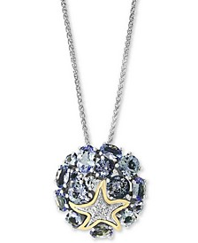"EFFY® Tanzanite (4-1/2 ct. t.w.) & Diamond (1/20 ct. t.w.) 18"" Pendant Necklace in Sterling Silver and 18k Gold Over Sterling Silver"