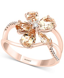 EFFY® Morganite (2-1/5 ct. t.w.) & Diamond (1/20 ct. t.w.) Flower Ring in 14k Rose Gold