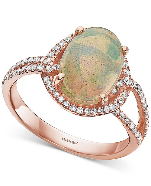 EFFY Collection EFFY® Opal (2-1/10 ct. t.w.) & Diamond (1/3 ct. t.w.) Ring in 14k Rose Gold