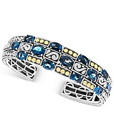 EFFY® London Blue Topaz Cuff Bracelet (15 ct. t.w.) in Sterling Silver & 18k Gold