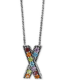 "EFFY® Multi-Gemstone Crisscross 18"" Pendant Necklace (1-5/8 ct. t.w.) in Sterling Silver"