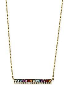 "EFFY® Multi-Gemstone (1/4 ct. t.w.) & Diamond (1/20 ct. t.w.) Horizontal Bar 16"" Pendant Necklace in 14k Gold"