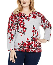 Plus Size Well Red Falling Flowers Cotton Sweater