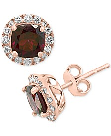 EFFY® Rhodolite Garnet (2-1/3 ct. t.w.) & Diamond (1/3 ct. t.w.) Stud Earrings in 14k Rose Gold