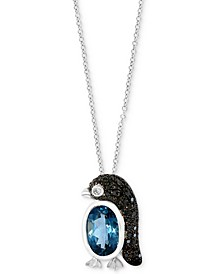 "EFFY® London Blue Topaz (1-5/8 ct. t.w.) & Diamond (1/4 ct. t.w.) Penguin 18"" Pendant Necklace in 14k White Gold"