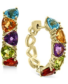 EFFY® Multi-Gemstone (5-1/3 ct. t.w.) & Diamond (1/8 ct. t.w.) Trillion Small Hoop Earrings in 14k Gold