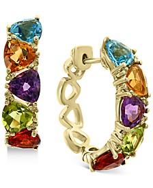 EFFY® Multi-Gemstone (5-1/3 ct. t.w.) & Diamond (1/8 ct. t.w.) Trillion Small Hoop Earrings in 14k Gold