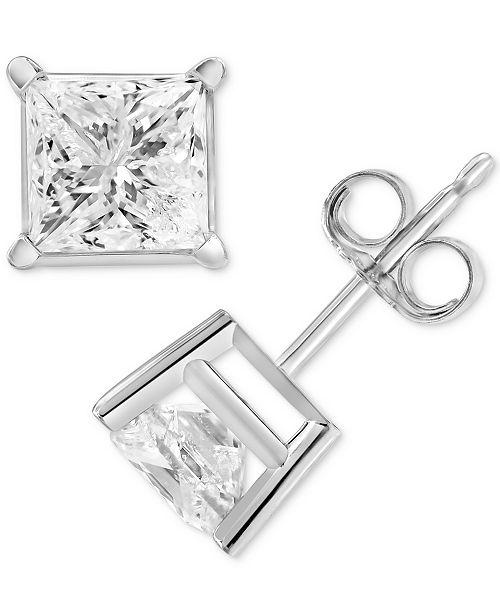 Macy's Diamond Princess Stud Earrings (2 ct. t.w.) in 14k White Gold