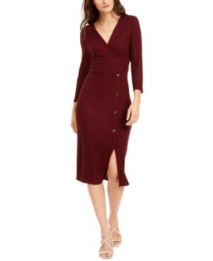 Monteau Petite Button-Skirt Sweater Dress