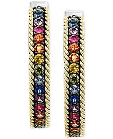 EFFY® Multi-Sapphire Hoop Earrings (2-1/10 ct. t.w.) in Sterling Silver & 18k Gold