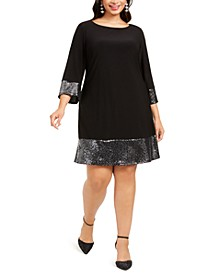 Plus Size Metallic-Trim A-Line Dress