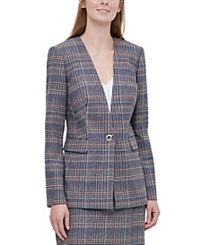 Petite Plaid Tweed Blazer