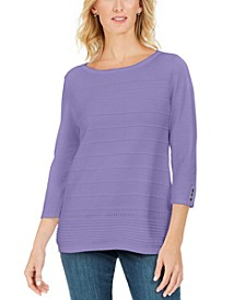 Ribbed 3/4-Sleeve Sweater, Created For Macy's