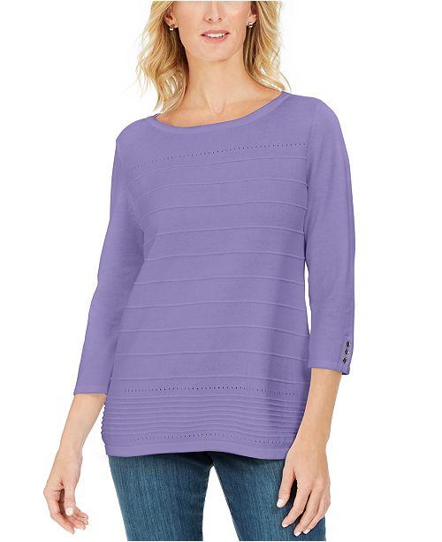 Karen Scott Ribbed 3/4-Sleeve Sweater, Created For Macy's