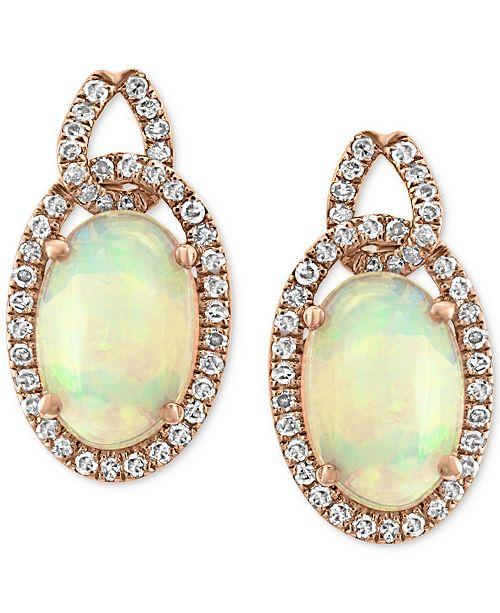 EFFY Collection EFFY® Opal (2-5/8 ct. t.w.) & Diamond (1/3 ct. t.w.) Drop Earrings in 14k Rose Gold