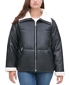 Trendy Plus Size  Fleece-Trimmed Faux-Leather Puffer Jacket