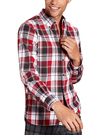 Men's Red Fleece Plaid Flannel Shirt