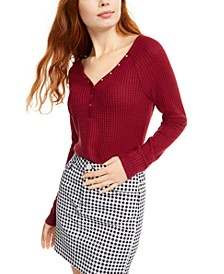 Juniors' Cozy Waffle-Knit Henley Top