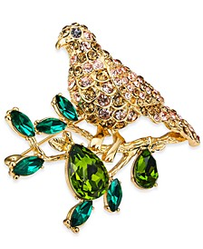 Gold-Tone Crystal Bird Perched on Tree Boxed Pin, Created For Macy's