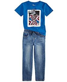Little Boys King Card T-Shirt & Baxter Stretch Jeans, Created For Macy's