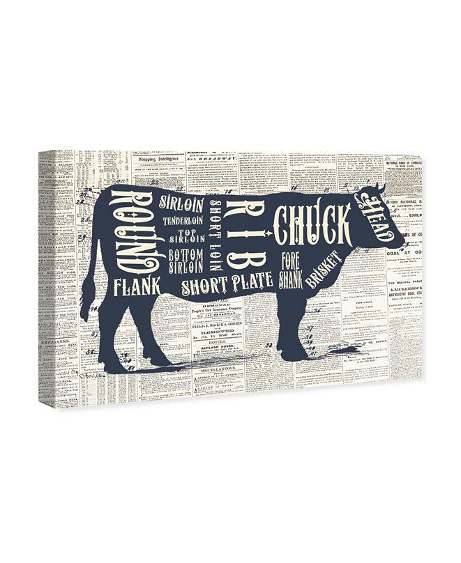 "Oliver Gal Angus Beef Butcher Cuts Chart Canvas Art, 45"" x 30"""