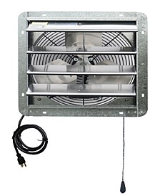 "14"" Shutter Exhaust Attic Garage Grow Fan, Ventilation Fan with 3 Speed Thermostat"