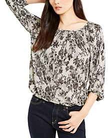 Lace Print Gathered Top, Regular & Petite
