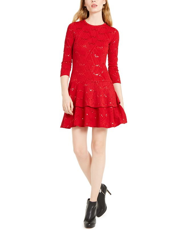 Michael Kors Jacquard Tiered Dress, Regular & Petite