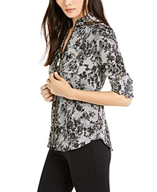 Floral Lace Zipper Top, Regular & Petite