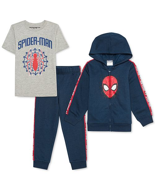Marvel Little Boys 3-Pc. Spider-Man Hoodie, T-Shirt & Joggers Set