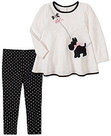 Toddler Girls 2-Pc. Quilted Dog Top & Printed Leggings Set