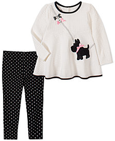 Kids Headquarters Toddler Girls 2-Pc. Quilted Dog Top & Printed Leggings Set