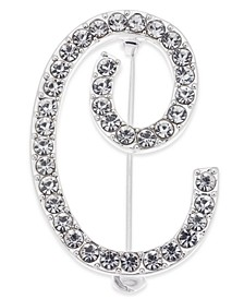 Silver-Tone Pavé Initial Pin, Created for Macy's