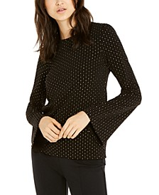 Metallic-Dot Bell-Sleeve Top, Regular & Petite