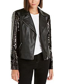 INC Sequined Faux-Leather Moto Jacket, Created For Macy's