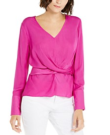 INC  V-Neck Twist-Front Blouse, Created For Macy's