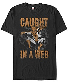 Marvel Men's Spider-Man Caught In A Web Drip Text Short Sleeve T-Shirt