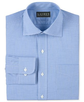 Lauren Ralph Lauren Non-Iron Slim-Fit Blue Micro-Gingham Dress ...
