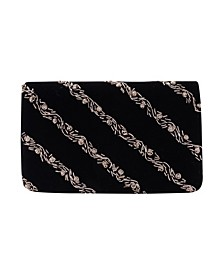 Floral Metallic Embroidered Velvet Flap Clutch