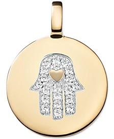 Swarovski Zirconia Hamsa Hand Charm Pendant in 14k Gold-Plated Sterling Silver