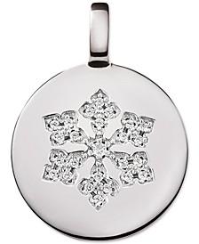 Swarovski Zirconia Reversible Snowflake Charm Pendant in Sterling Silver