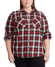 Plus Size Plaid Roll-Tab-Sleeve Shirt